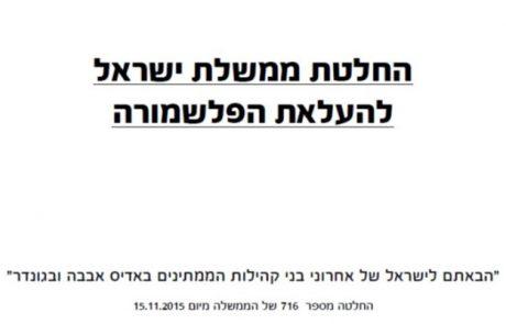 החלטת ממשלת ישראל להעלאת הפלאשמורה